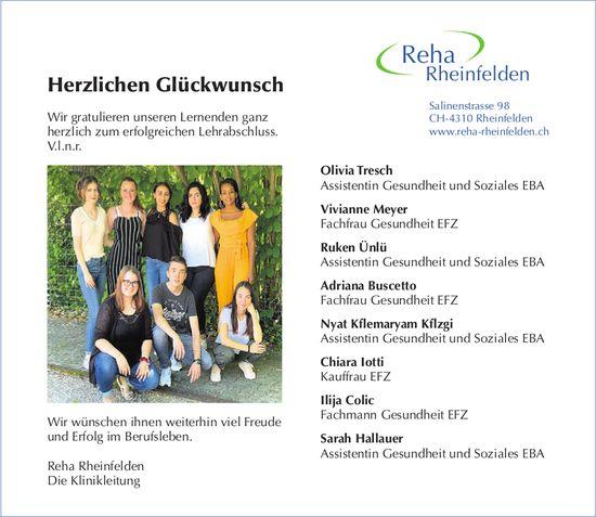 Reha Rheinfelden - Herzlichen Glückwunsch
