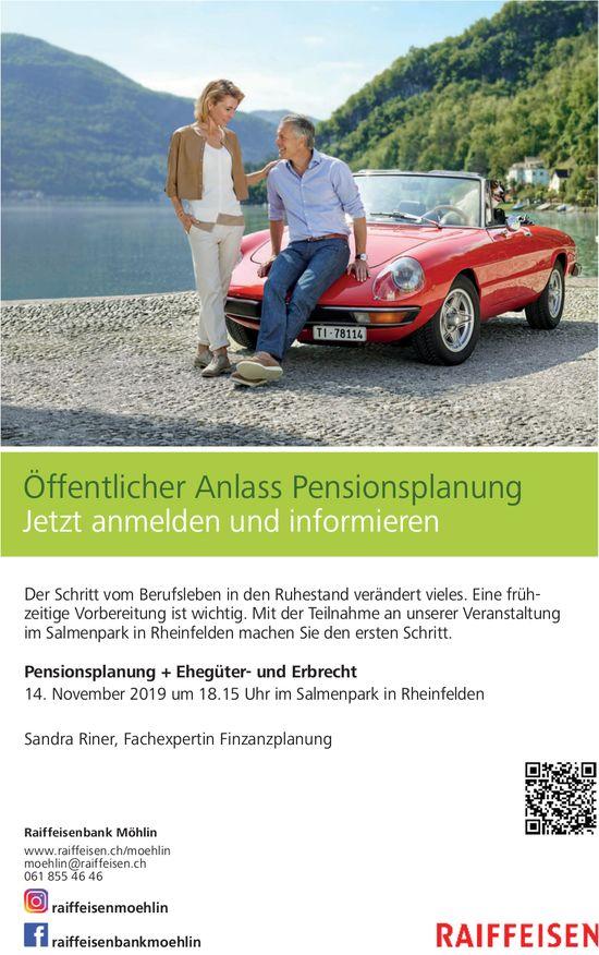 Raiffeisenbank Möhlin - Öffentlicher Anlass Pensionsplanung am 14. November