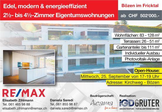 Edel, modern & energieeffizient 2½- bis 4½-Zi.-Eigentumswohnungen  in Bözen / Open-House, 25. Sept.