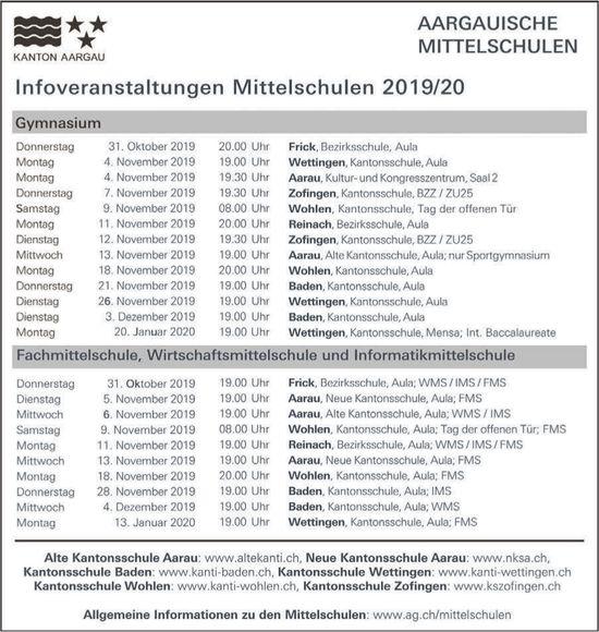AARGAUISCHE MITTELSCHULEN - Infoveranstaltungen Mittelschulen 2019/20