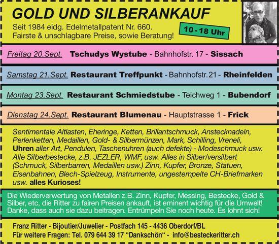 Franz Ritter, Bijoutier/Juwelier - GOLD UND SILBERANKAUF