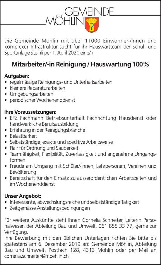 Mitarbeiter/-in Reinigung / Hauswartung 100% bei Gemiende Möhlin gesucht
