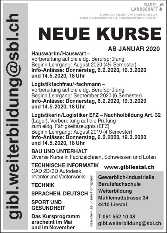 Gibl. Weiterbildung Liestal - Neue Kurse ab Januar 2020