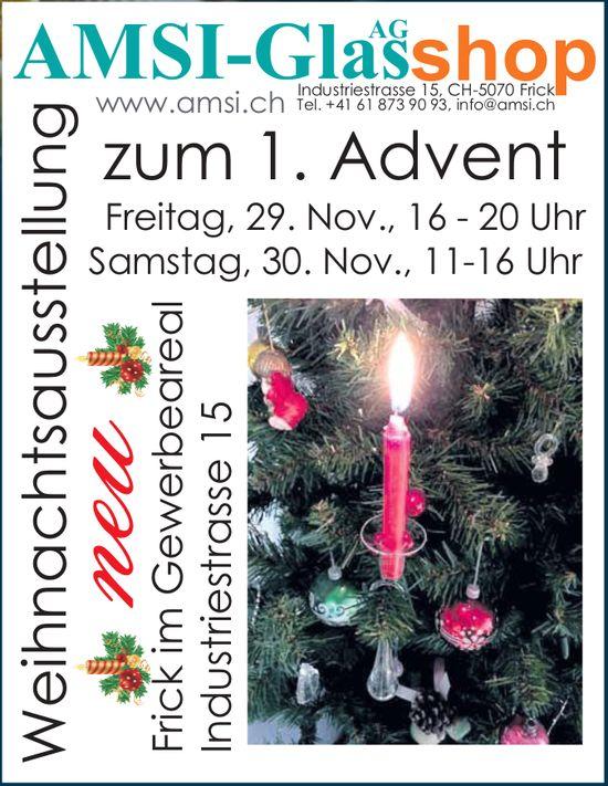 AMSI-GLAS AG SHOP - Weihnachtsausstellung zum 1. Advent, 29. + 30. Nov.
