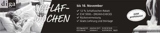 diga - Schlafwochen bis 16. November