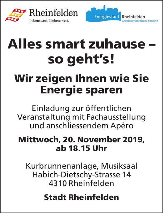 Öffentliche Veranstaltung, Alles smart zuhause – so geht's!, 20. November, Rheinfelden