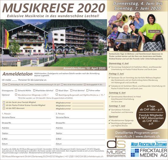 MUSIKREISE 2020, 4. - 7. Juni - Exklusive Musikreise in das wunderschöne Lechtal!