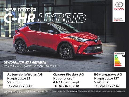Automobile Weiss AG/ Garage Stocker AG/ Römergarage AG - NEW TOYOTA  C-HR HYBRID