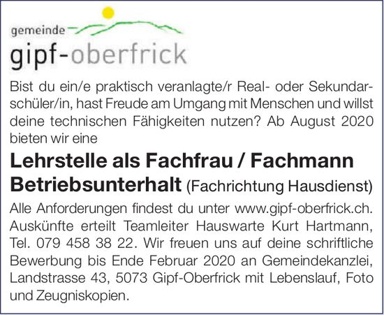 Lehrstelle als Fachfrau / Fachmann bei Gemeinde Gipf-Oberfrick zu vergeben