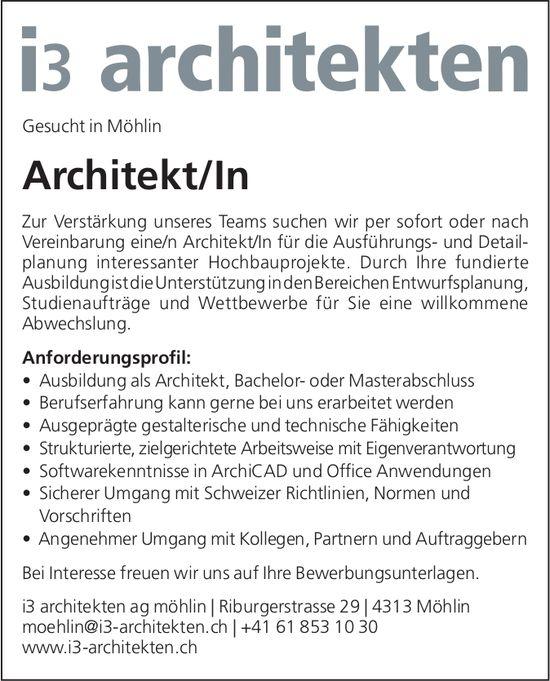 Architekt/In bei i3 Architekten AG gesucht