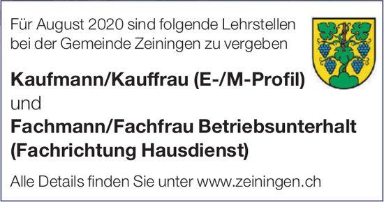 Lehrstellen als Kaufmann/Kauffrau und Fachmann/Fachfrau Betriebsunterhalt bei Gemeinde Zeiningen