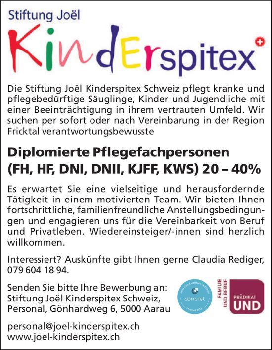 Diplomierte Pflegefachpersonen 20 - 40% bei Stiftung Joël Kinderspitex Schweiz gesucht