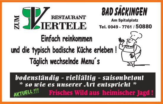 Restaurant zum Viertele - Typisch badische Küche erleben !