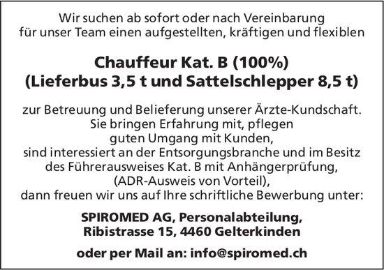 Chauffeur Kat. B(100%) (Lieferbus 3,5t & Sattelschlepper 8,5t), SPIROMED AG,  Gelterkinden, Gesucht