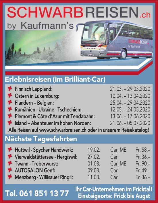 Programm & Events, SCHWARBREISEN.ch by Kaufmann's