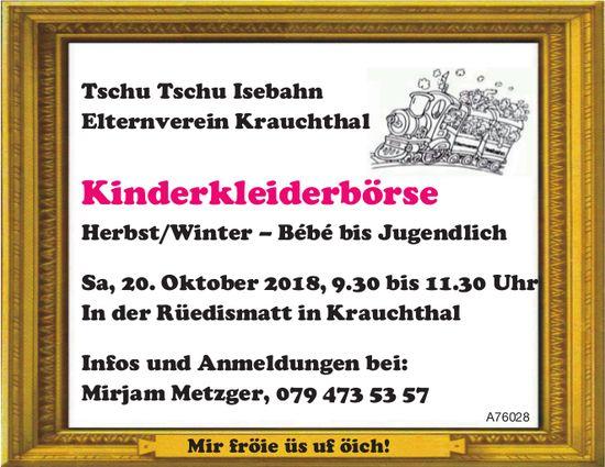 Tschu Tschu Isebahn Elternverein Krauchthal - Kinderkleiderbörse am 20. Oktober