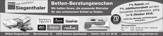 Möbel Siegenthaler - Betten-Beratungswochen bis 6. Oktober