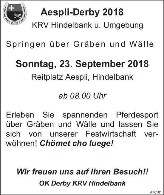 Aespli-Derby 2018, KRV Hindelbank u. Umgebung - Springen über Gräben und Wälle am 23. September