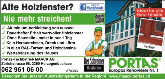 Portas-Fachbetrieb MAACK AG - Alte Holzfensier? Nie mehr streichen!