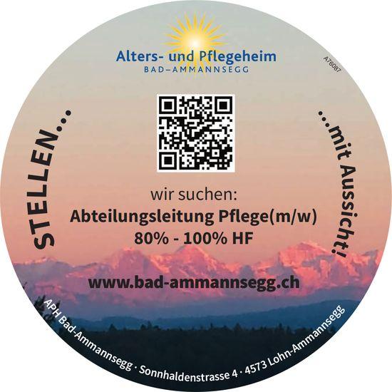 Abteilungsleitung Pflege(m/w) 80%-100% HF bei Alters- und Pflegeheim Bad-Ammannsegg gesucht