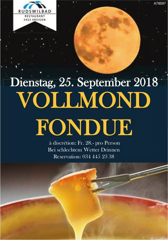 Restaurant Rudswilbad, Ersigen - Vollmund Fondue am 25. September