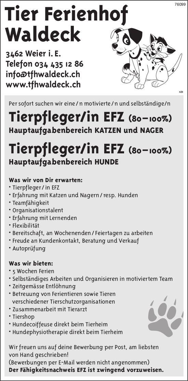 Tierpfleger/in EFZ (80 – 100%) bei Tier Ferienhof Waldeck gesucht