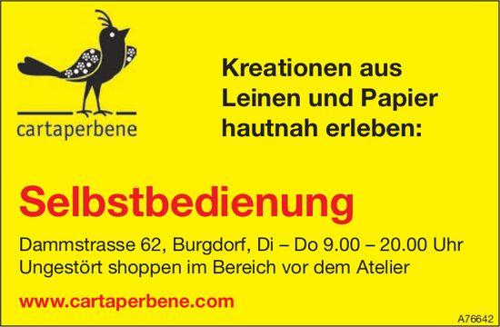 cartaperbene - Kreationen aus Leinen und Papier hautnah erleben: Selbstbedienung