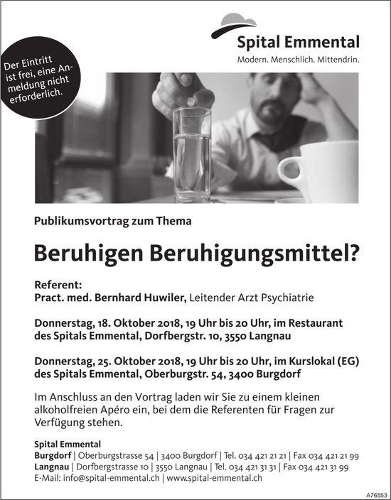 "Spital Emmental - Publikumsvortrag zum Thema ""Beruhigen Beruhigungsmittel?"" am 18. + 25. Okt."