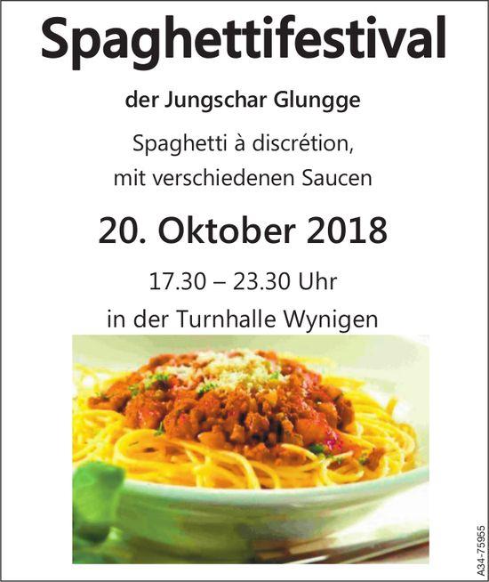 Spaghettifestival der Jungschar Glungge in der Turnhalle Wynigen am 20. Oktober