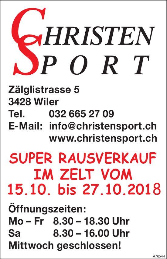 Christen Sport - Super Rausverkauf im Zelt vom 15. bis 27. Oktober