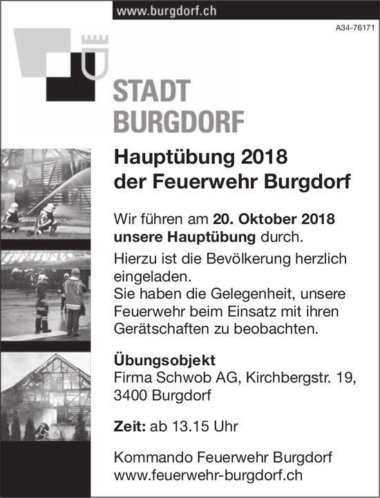 Stadt Burgdorf - Hauptübung 2018 der Feuerwehr Burgdorf am 20. Oktober
