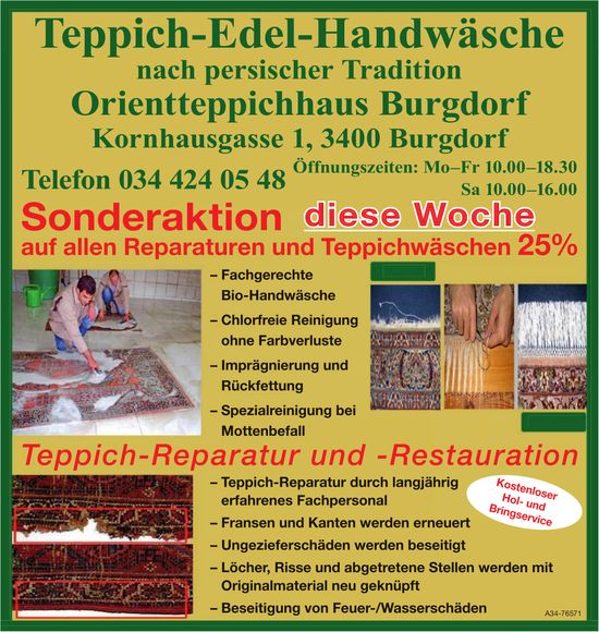 Orientteppichhaus Burgdorf - Sonderaktion diese Woche auf allen Reparaturen und Teppichwäschen 25%
