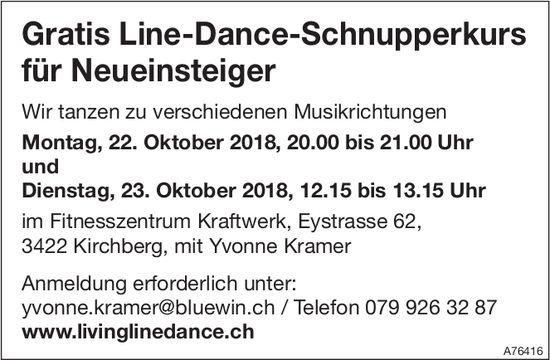 Gratis Line-Dance-Schnupperkurs für Neueinsteiger in Kirchberg, 22. + 23. Oktober