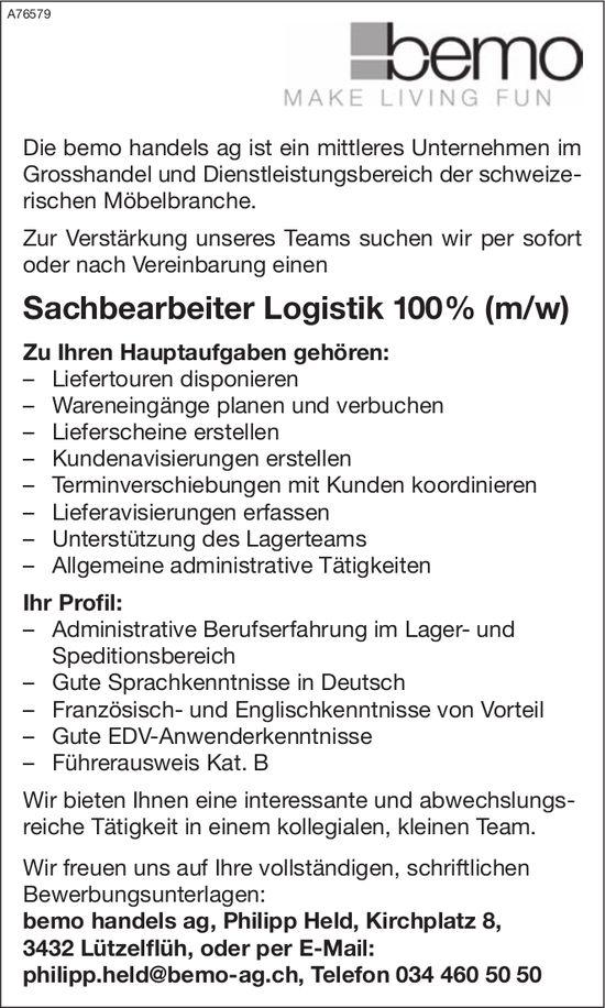 Sachbearbeiter Logistik 100% (m/w) bei Bemo Handels AG gesucht