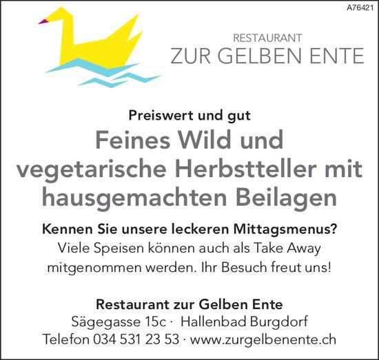 Restaurant zur Gelben Ente - Feines Wild und vegetarische Herbstteller mit hausgemachten Beilagen