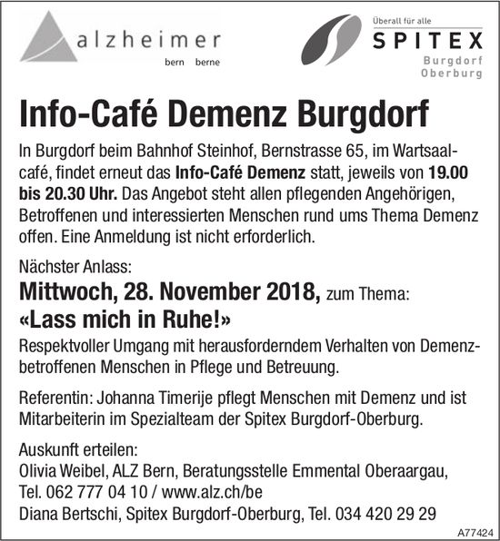 Info-Café Demenz Burgdorf - Nächster Anlass: «Lass mich in Ruhe!», 28. Nov.