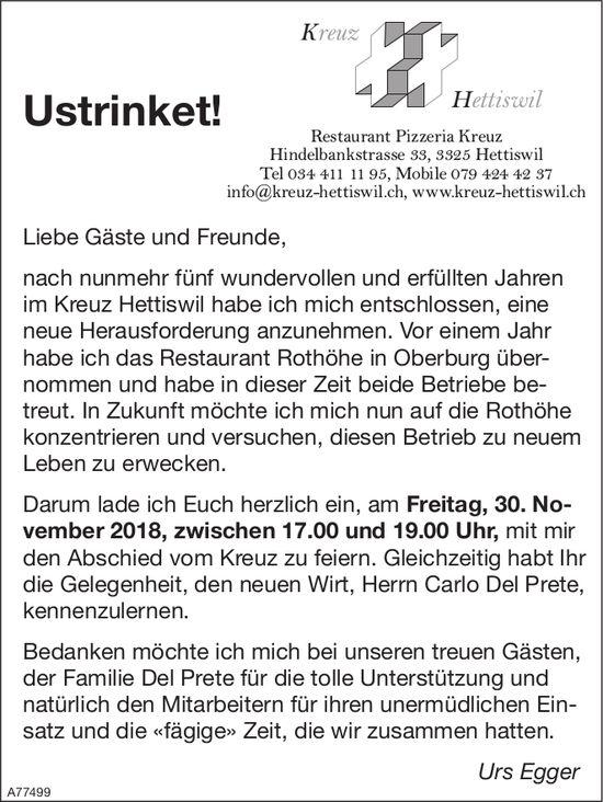 Ustrinket! 30. Nov., Restaurant Pizzeria Kreuz, Urs Egger