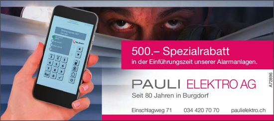 500.– Spezialrabatt, Pauli Elektro AG