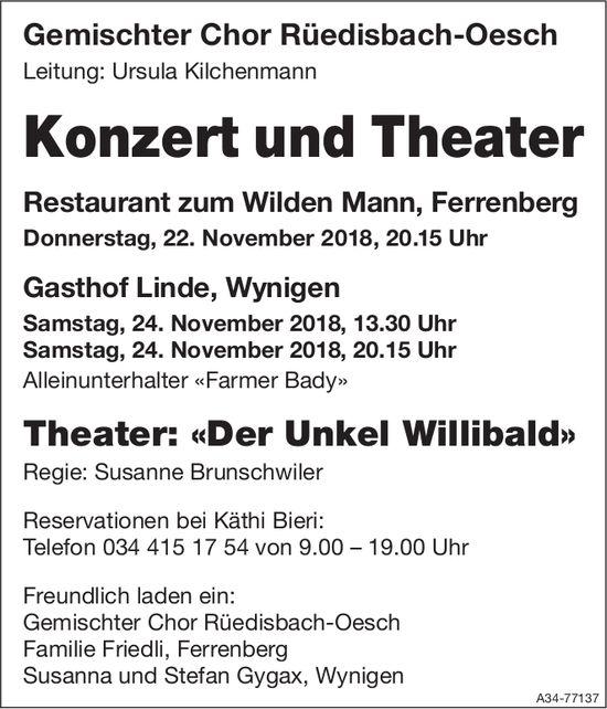 Konzert und Theater, 22./24. Nov., Restaurant zum Wilden Mann / Gasthof Linde