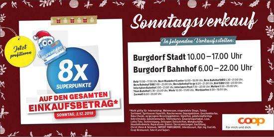 Sonntagsverkauf, 2. Dez., Coop Burgdorf Stadt / Burgdorf Bahnhof