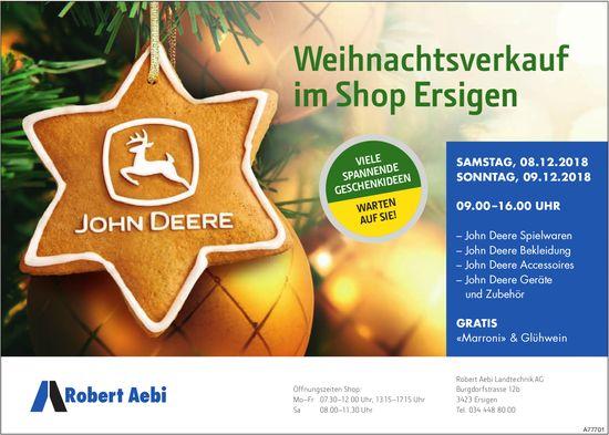 Robert Aebi Landtechnik AG - Weihnachtsverkauf im Shop Ersigen, 08./09. Dezember