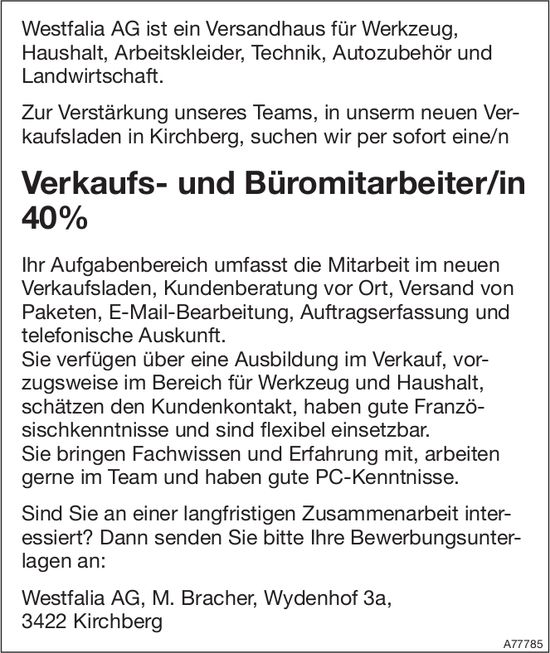 Verkaufs- und Büromitarbeiter/in 40% bei Westfalia AG gesucht