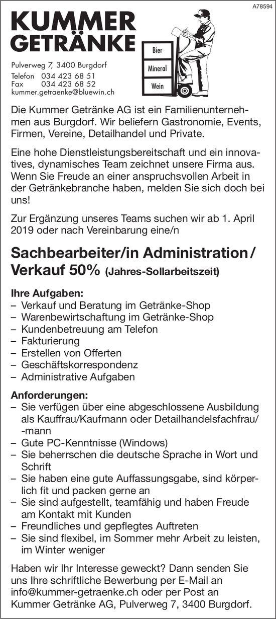 Sachbearbeiter/in Administration/ Verkauf 50 (Jahres-Sollarbeitszeit) bei Kummer Getränke AG gesucht