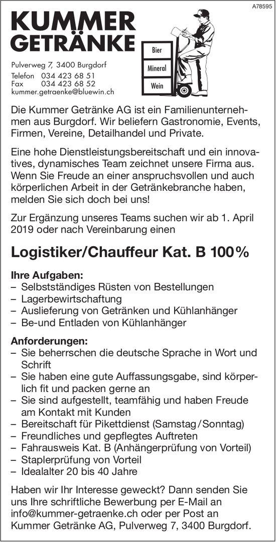 Logistiker/Chauffeur Kat. B 100% bei Kummer Getränke AG gesucht