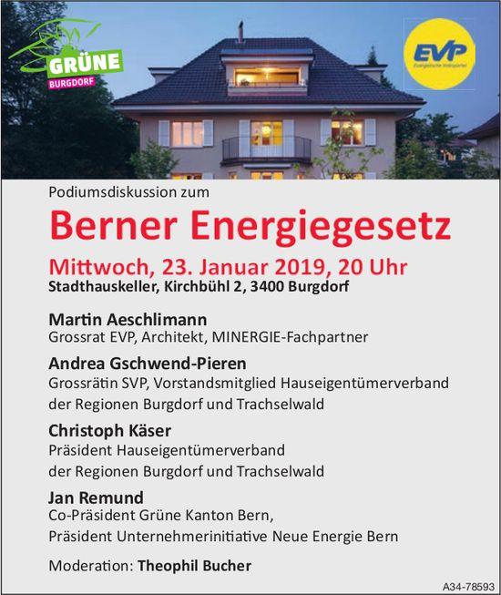 EVP - Podiumsdiskussion zum Berner Energiegesetz am 23. Januar