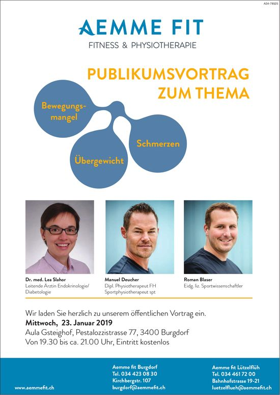 Aemme fit Burgdorf, Fitness & Physiotherapie - Publikumsvortrag zum Thema am 23. Januar