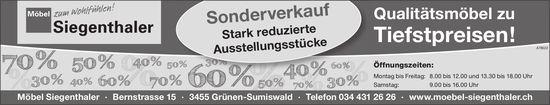 Möbel Siegenthaler - Sonderverkauf: Stark reduzierte Ausstellungsstücke
