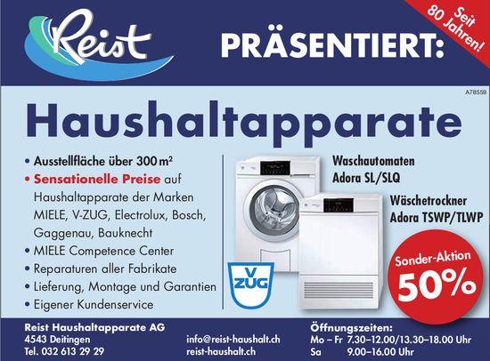 Reist Haushaltapparate AG - Waschautomaten/ Wäschetrockner Sonder-Aktion 50%
