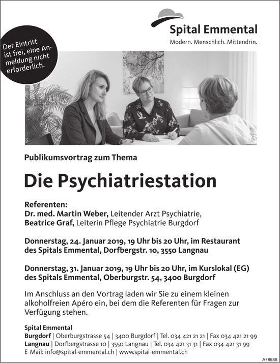 "Spital Emmental - Publikumsvortrag zum Thema ""Die Psychiatriestation"" am 24. + 31. Januar"