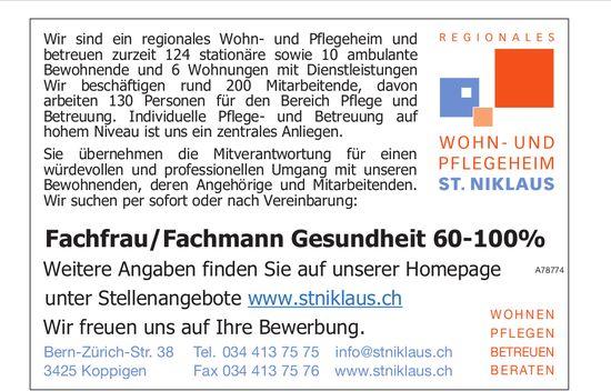 Fachfrau/Fachmann Gesundheit 60-100% bei Wohn- und Pflegeheim St. Niklaus gesucht
